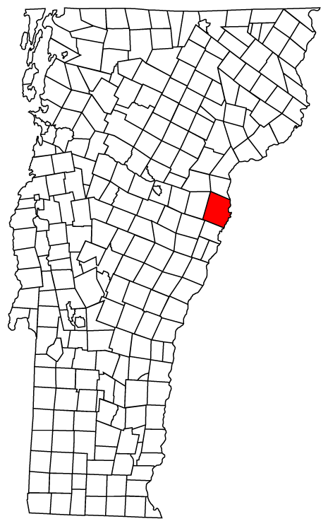 Map of Vermont towns with Newbury highlighted