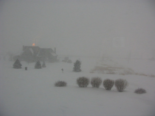 Our first real blizzard. Note the late afternoon sun shining above our neighbor's house during this storm.