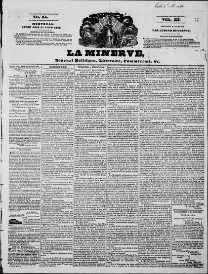 Front page of the August 21, 1837 edition of Lower Canada (present-day Quebec) newspaper La Minerve.