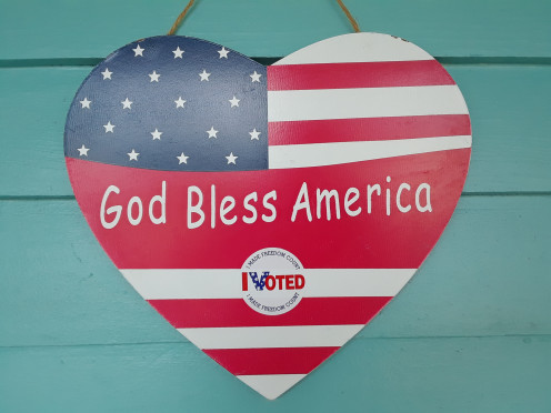 God Bless America Heart-shaped Sign