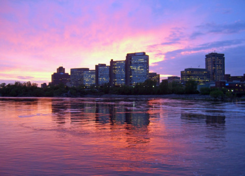 The sun sets on downtown Gatineau, as seen from Ottawa.