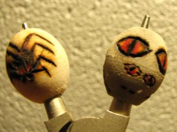 Think simple designs as the art beads are small and the painting is rather taxing. Think extreme Halloween while working.