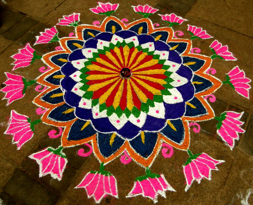 Colorful Rangoli drawn on the floor