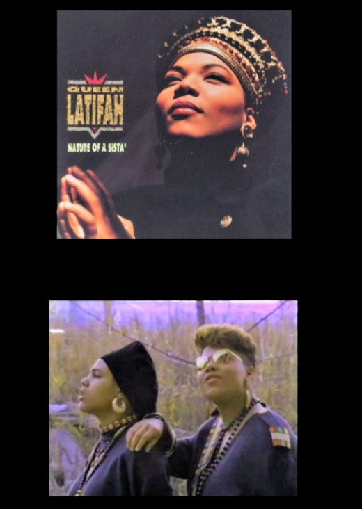 "Queen Latifah and Monie Love in the ""Ladies First"" music video."