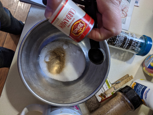 Ground spices in salt and sugar