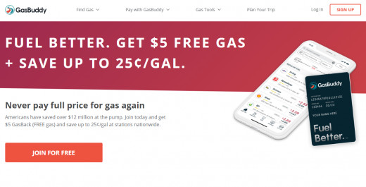 Header for the website GasBuddy, which allows users to find the lowest gas prices.