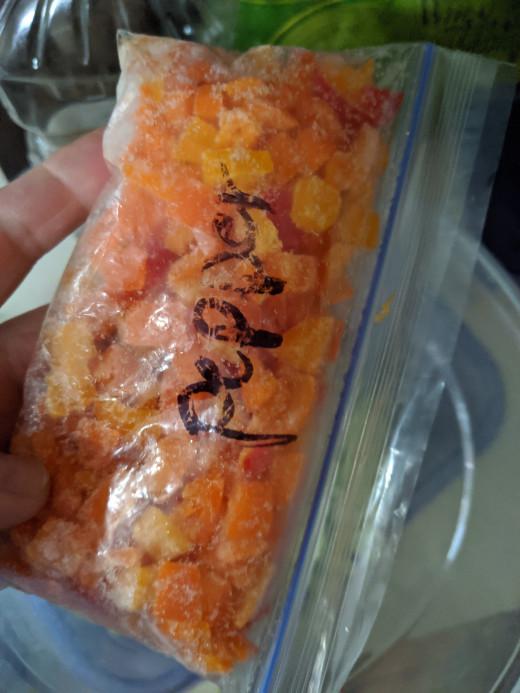 Frozen sweet peppers