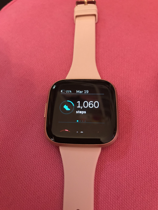 The Fitbit Versa 2 (with a 3rd party slim band).
