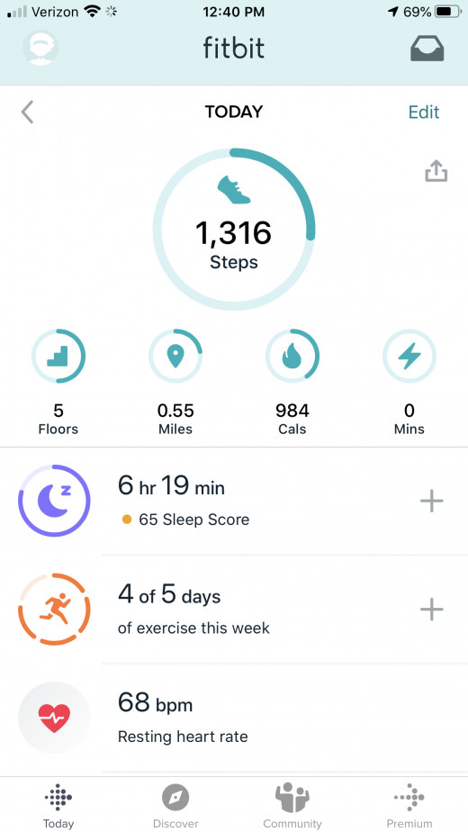 A screenshot of the Fitbit app for iPhone.
