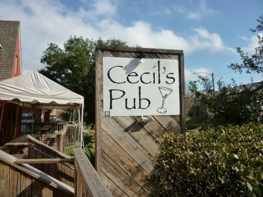 Cecil's Pub street sign