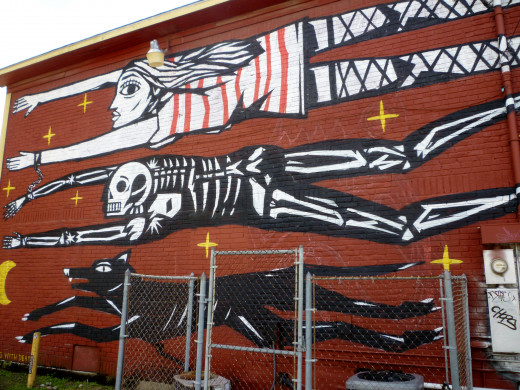 Cecil's Pub detail of mural on back of building by graffiti artist KAZY…USCLEF