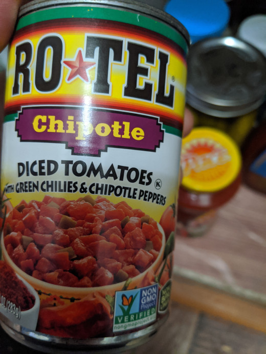 one of the varieties of Rotel tomatoes. [any brand of diced tomatoes would be fine]