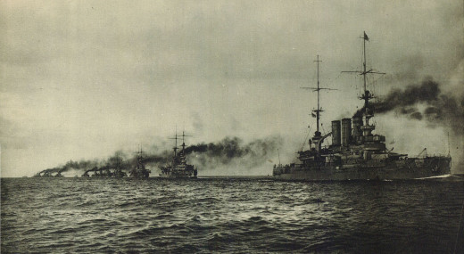 German battleships of the High Seas Fleet underway
