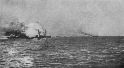 HMS Invincible exploding during the Battle of Jutland