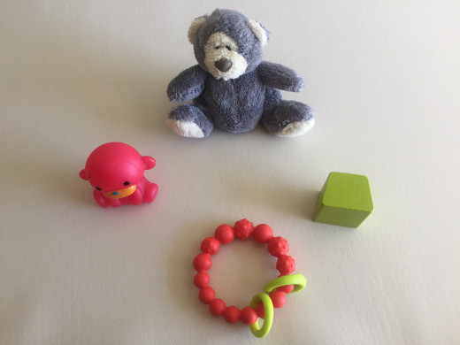 Some of the toys we use to distract our little one while we change him