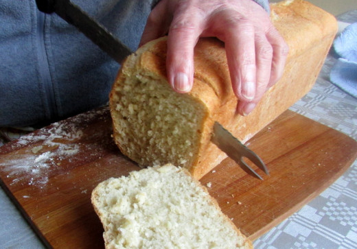 Slicing up the homemade bread