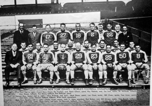 The 1934 New York Giants pose for a roster photo.