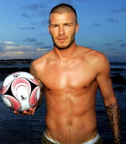 Mr. David Beckham, muscular, short-haired, mildly bearded, sport-playing, was voted Most Masculine Man in the world.