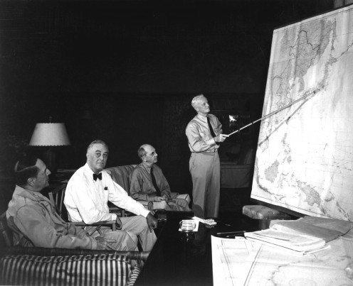 President F D Roosevelt in conference with MacArthur, Leahy, and Nimitz in 1944 http://www.dodmedia.osd.mil/DVIC_View/Still_Details.cfm?SDAN=HDSN9902408&JPGPath=/Assets/Still/1999/DoD/HD-SN-99-02408.JPG.
