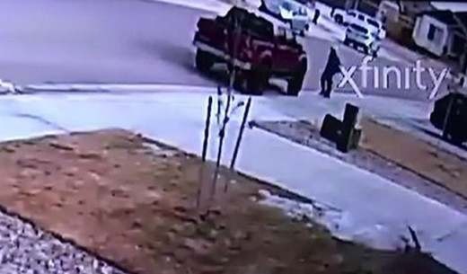 Video surveillance surfaces showing a child getting into a red truck around 10:15 a.m. on January 27, 2020.