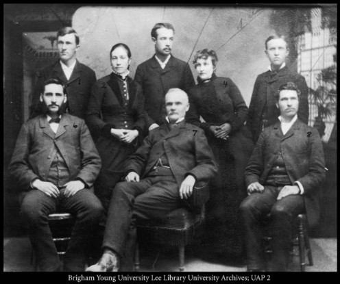 The faculty of BYU in 1884: left to right, seated: J. M. Tanner, Karl G. Maeser, Benjamin Cluff, Jr.; standing, N. L. Nelson, Zina Y. Card, J. M. Coombs, Nettie Southworth, Willard Done,   https://contentdm.lib.byu.edu/digital/collection/BYUPhotos/id