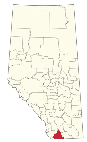 Map location of Cardston County  Municipal boundary