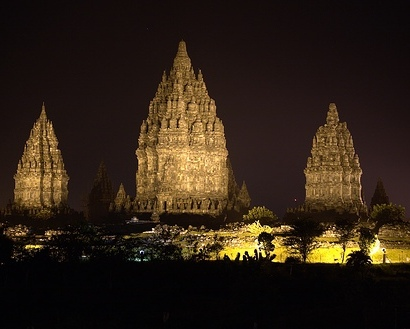 Prambanan Temple View at Night
