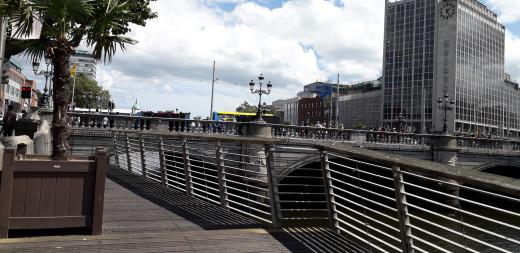 Modern walkway along the River Liffey