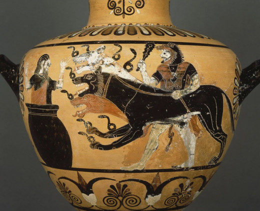 Kerberos, Hades's helper, guarded the entrance of the underworld on an antique vase