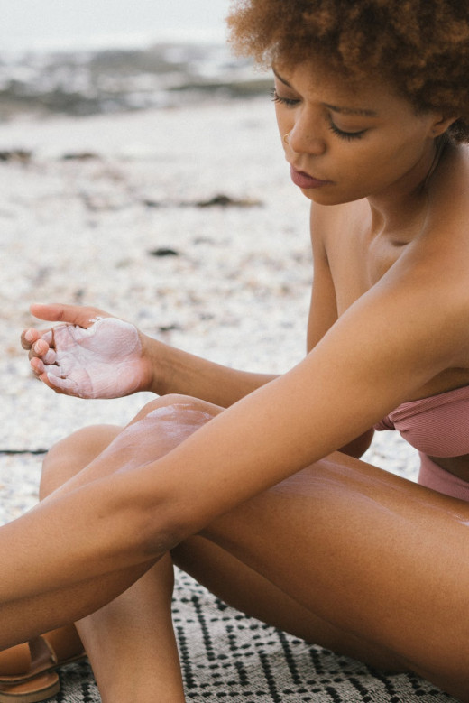 Apply sunscreen to prevent skin discolorations.