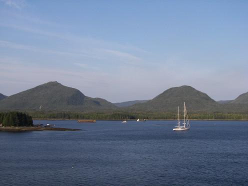 Gravina Island across the Tongass Narrows from Ketchikan, Alaska. Pennock Island is to the left.