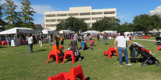 Children's Creative Zone area in Sam Houston Park at the Bayou City Art Festival
