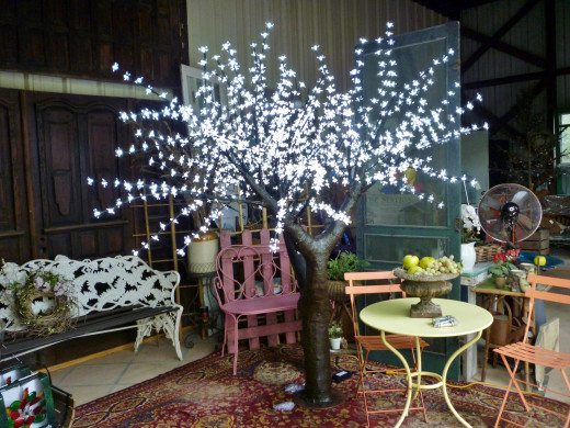 Illuminated all weather tree designed by Suzan at In the Garden