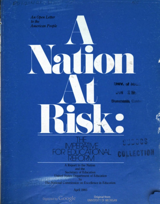 """The cover of """"A Nation at Risk""""."""