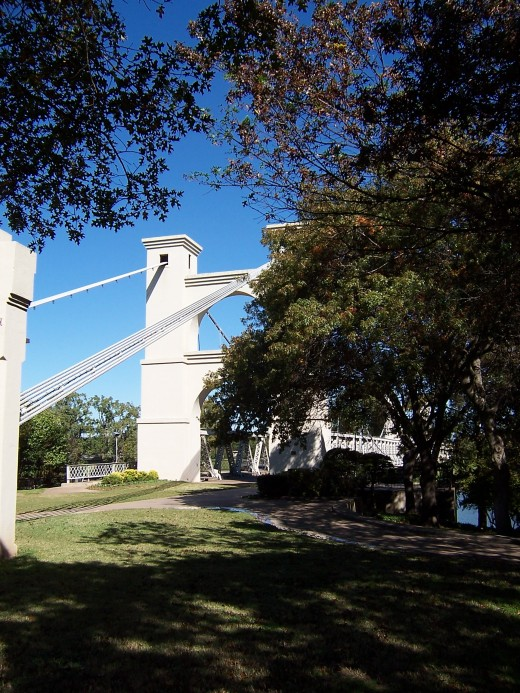 The Waco Suspension Bridge in Waco, Texas
