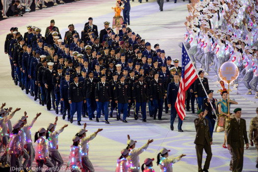 American contingent marching in wuhan military games
