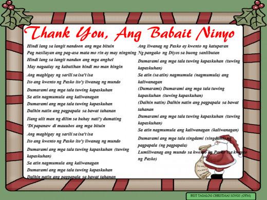 Thank You, Ang Babait Ninyo Lyrics