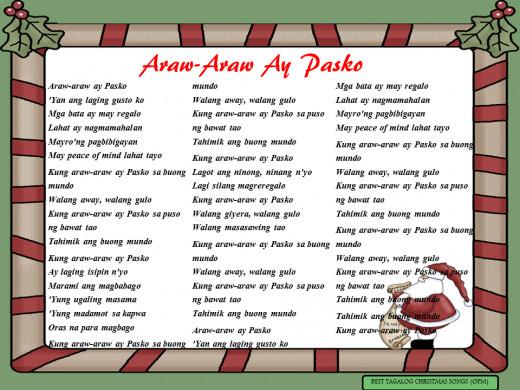 Araw-Araw Ay Pasko Lyrics