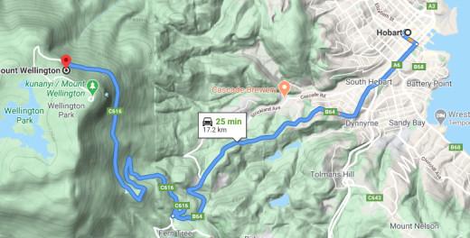 Hobart to Mt Wellington