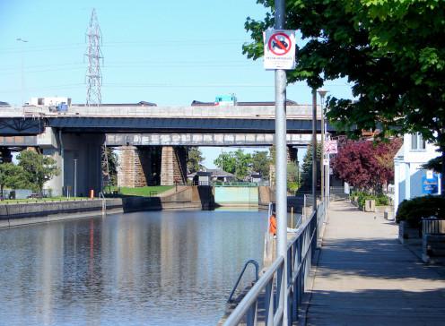 Canal and boardwalk in Sainte-Anne-de-Bellevue, Quebec, Canada