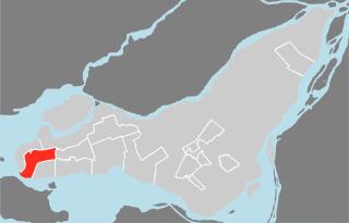 Map location of Sainte-Anne-de-Bellevue on the 'île de Montréal / Montreal Island