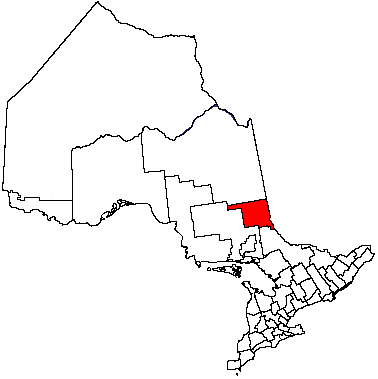 Map location of Timiskaming District, Ontario