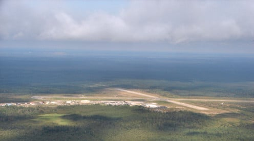 Aerial view of Timmins Airport, Ontario, Canada
