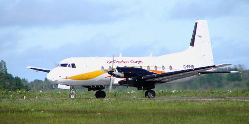 Hawker Siddeley HS 748 cargo plane of Air Creebec at Moosonee Airport, Ontario, Canada