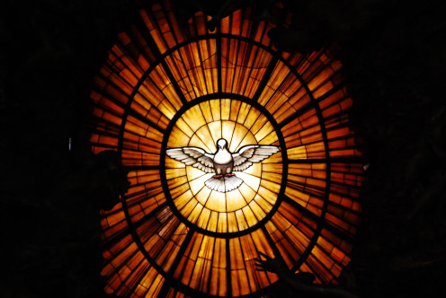 Stained Glass Dove above the Chair of St. Peter, Vatican, Italy