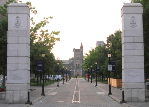 One of the entrances to the University of Toronto: King's College Road, off College Street. Toronto, Ontario, Canada.