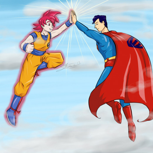 Fan art of Goku and Superman doing a high five. I would like to see more art like this.