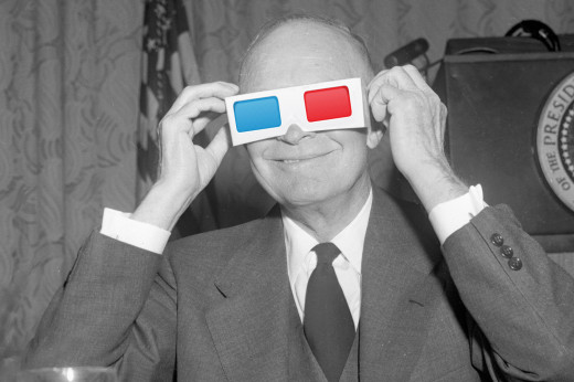 President Dwight D. Eisenhower prepares to watch on IMAX.