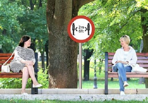 Women observing social distancing