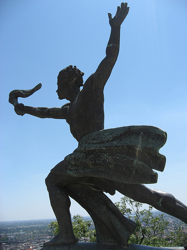 A statue on Gellert Hill in Budapest commemorates the liberation of Hungary from Nazi forces during World War II.